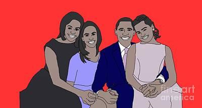 Obama Family Print by Priscilla Wolfe