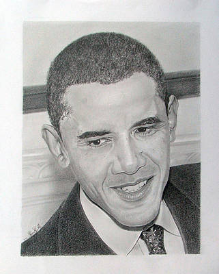 Barack Obama Drawing - Obama by Felipe Galindo