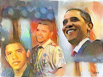 Painting - Obama - From Boy Scout To President by Wayne Pascall