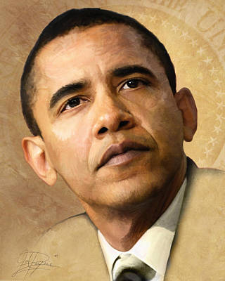 Black Man Painting - Obama by Joel Payne