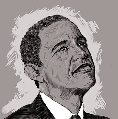 Balck Art Drawing - Obama by Malik Shamshad