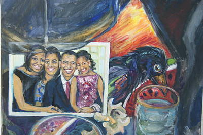 Obama Family Painting - Obama Post Card by Susan Brown    Slizys art signature name