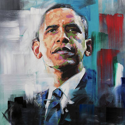 Abstract Expression Painting - Obama by Richard Day