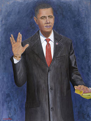 Obama Painting - Obama Taking The Oath Of Office by TC North