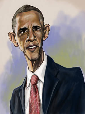 Caricature Portraits Painting - Obama by Tyler Auman