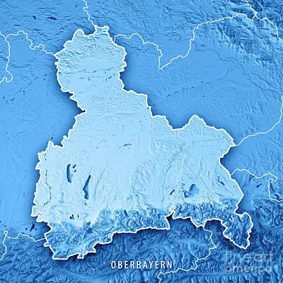 Digital Art - Oberbayern Regierungsbezirk Bayern 3d Render Topographic Map Blu by Frank Ramspott