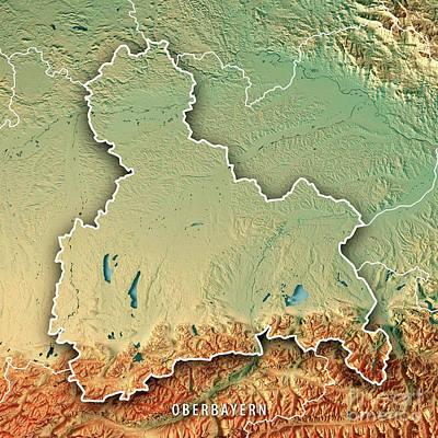 Digital Art - Oberbayern Regierungsbezirk Bayern 3d Render Topographic Map Bor by Frank Ramspott