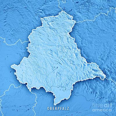Digital Art - Oberpfalz Regierungsbezirk Bayern 3d Render Topographic Map Blue by Frank Ramspott