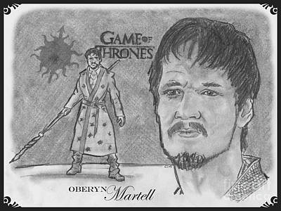 Drawing - Oberyn Martell The Red Viper by Chris DelVecchio