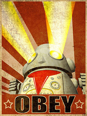 Robot Digital Art - Obey Version 2 by Michael Knight