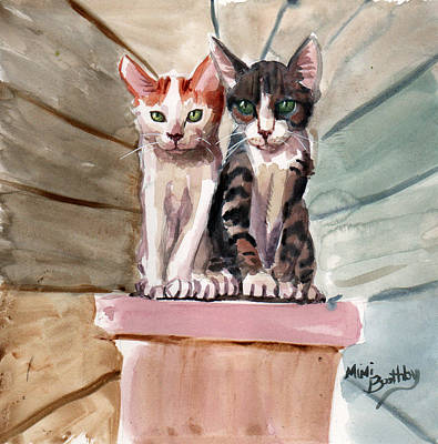 Painting - Obi And Lisa Two Kittens by Mimi Boothby