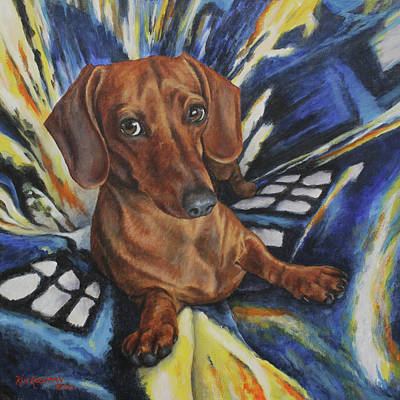 Painting - Dachshund Time Lord by Kim Lockman