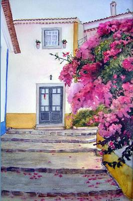 Obidos And Bougainvilla Art Print by Katherine  Berlin