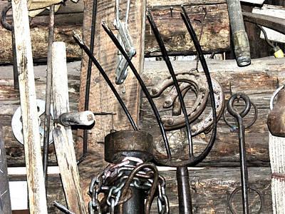 Mixed Media - Objects On A Barn Wall by Kae Cheatham