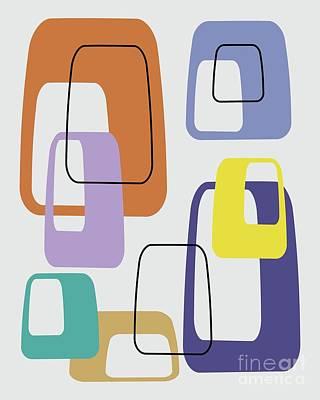 Digital Art - Oblongs On Grey by Donna Mibus
