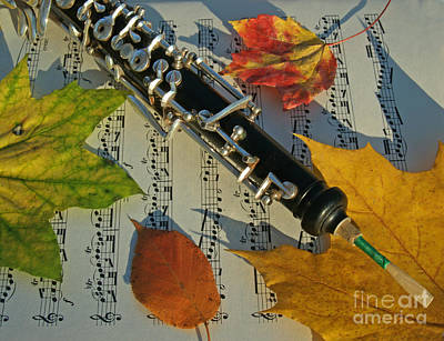 Maple Season Photograph - Oboe And Sheet Music On Autumn Afternoon by Anna Lisa Yoder