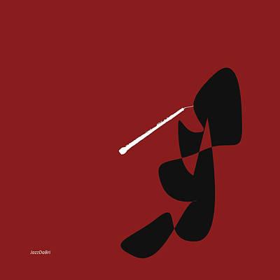 Digital Art - Oboe In Orange Red by David Bridburg