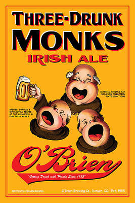 Three Drunk Monks Drawing - O'brien Three Drunk Monks by John OBrien