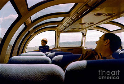 Photograph - Observaition Dome Railcar, Girl And Father, California Zephyr, 1 by Wernher Krutein