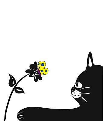 Cat And Butterfly Digital Art - Observation by Melissa Schultz