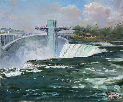 Waterfalls Painting - Observation Tower In Niagara Falls by Ylli Haruni