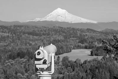 Photograph - Observe Mt Hood Black And White by John McGraw
