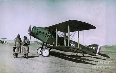 Observer Painting - Observer Pilot And Bristol Fighter F2b Aircraft 1918 by MotionAge Designs