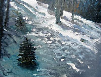 Print featuring the painting Observing Snow by Gary Coleman