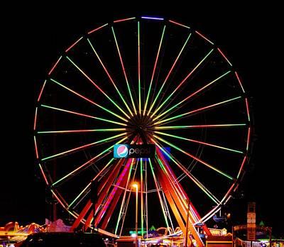 Oc Pier Ferris Wheel At Night Art Print by William Bartholomew