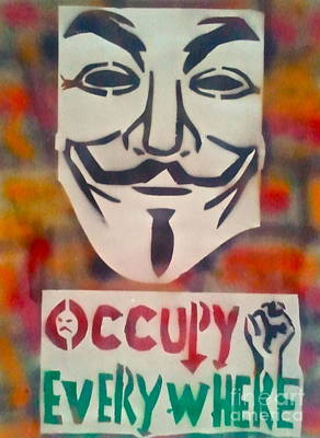 Free Speech Painting - Occupy Mask by Tony B Conscious