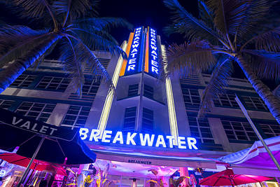 Photograph - Ocean Ave At Night Miami Florida Art Deco The Breakwater by Toby McGuire