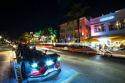 Photograph - Ocean Ave At Night Miami Florida Art Deco by Toby McGuire
