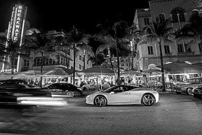 Photograph - Ocean Ave At Night Miami Florida The Breakwater Black And White by Toby McGuire