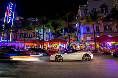Photograph - Ocean Ave At Night Miami Florida The Breakwater by Toby McGuire