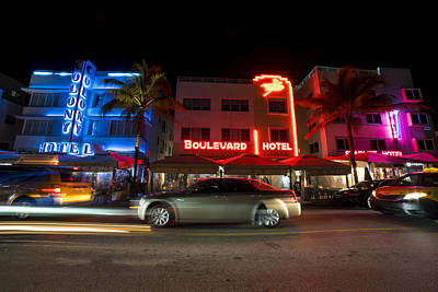 Photograph - Ocean Ave At Night Miami Florida The Colony by Toby McGuire
