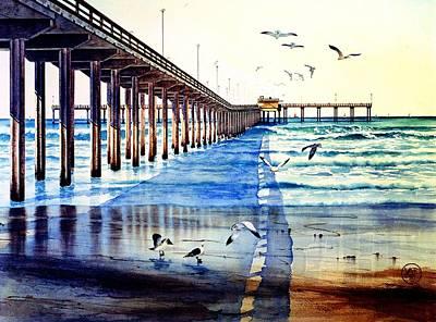 Sea Gull Painting - Ocean Beach Pier by John YATO
