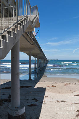 Ocean Beach Pier Stairs Art Print by Ana V Ramirez