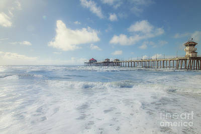 Ocean Blue At The Pier Art Print