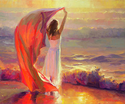 Woman Painting - Ocean Breeze by Steve Henderson