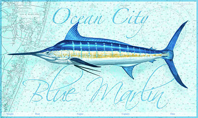 Wall Art - Painting - Ocean City Blue Marlin by Guy Crittenden