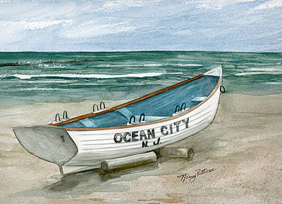 Painting - Ocean City Lifeguard Boat by Nancy Patterson