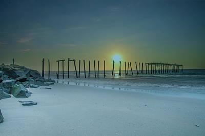 Photograph - Ocean City Sunrise - 57th Street Pier Ruin by Bill Cannon