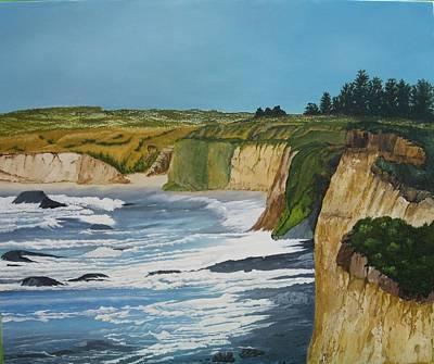 Ocean Cliffs Art Print by Joan Taylor-Sullivant