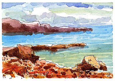 Ocean Shore Mixed Media - Ocean Cliffs by Tonya Doughty
