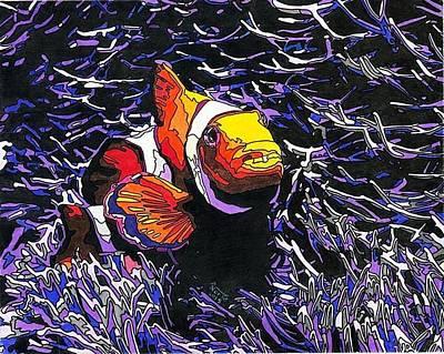 Clown Fish Drawing - Ocean Clown by Eric North