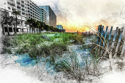 Digital Art - Ocean Drive Easter Sunrise by David Smith