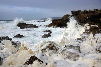 Winter Storm Photograph - Ocean Foam by Carlos Caetano