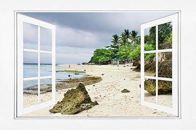 Photograph - Ocean Front Beach Open White Picture Window Frame Canvas Art Vie by James BO Insogna