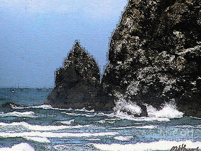 Painting - Ocean Haystack Rock by Methune Hively