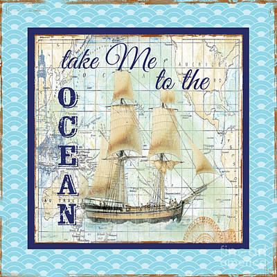 Typography Map Painting - Ocean-jp2751 by Jean Plout